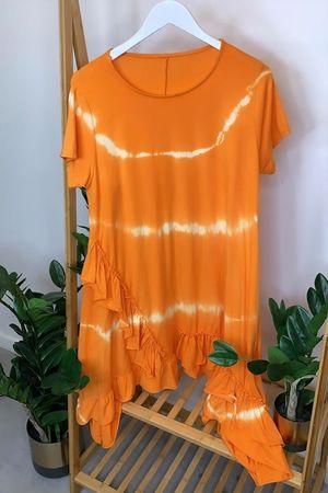 Tie Dye Asymmetric Ruffle Hem T Shirt Dress Fire