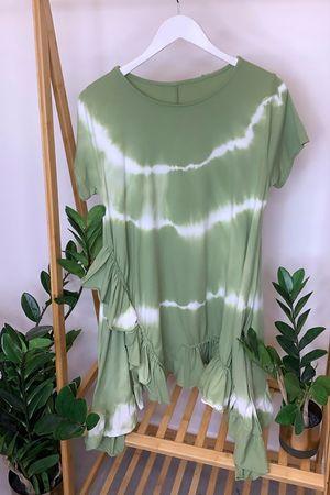Tie Dye Asymmetric Ruffle Hem T Shirt Dress Plant