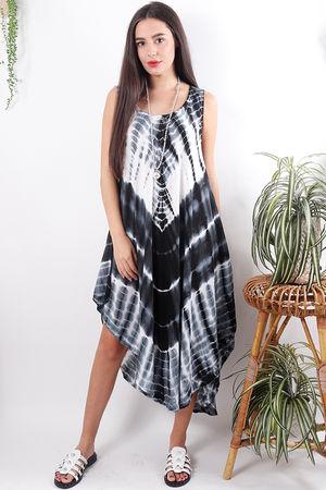 Tie Dye Swing Dress Black