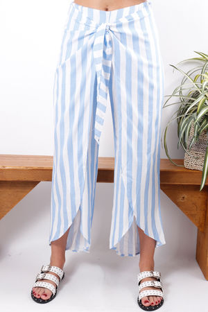 Tie Front Stripe Pant