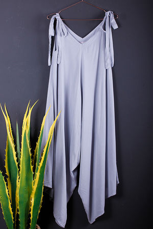 Tie Shoulder Jumpsuit Dove