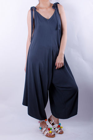 Tie Shoulder Jumpsuit Graphite