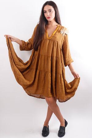 Tiered Linen Dress Mustard