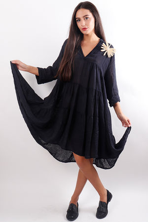Tiered Linen Dress Navy