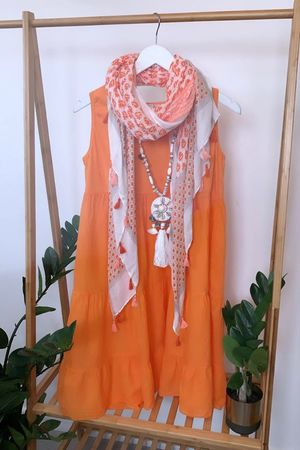 Tiered Vest Smock Dress Papaya