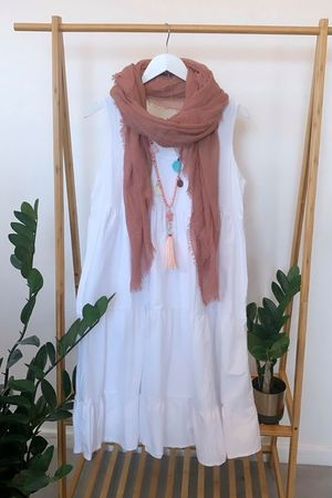 Tiered Vest Smock Dress White