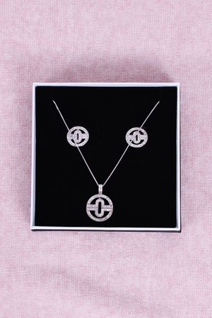 Tory Earrings & Necklace Set Silver