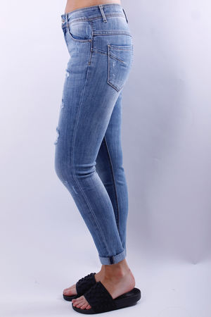 Toxic Distressed Denim Turn Up Jean