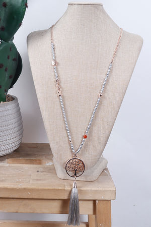 Tree Of Life Tassel Necklace Rose