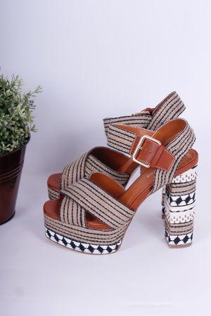 Tribal Monochrome Platform Heels