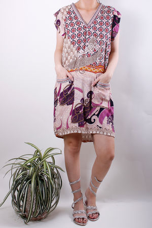 Tribal Print Pocket Dress Aubergine