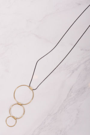 Triple Hoop Necklace Pewter & Gold