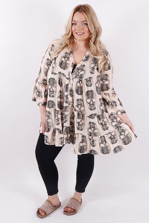 True Saint Skull Tunic Nude