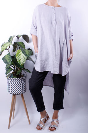 Turn Up Sleeve Button Linen Tunic Dove Grey
