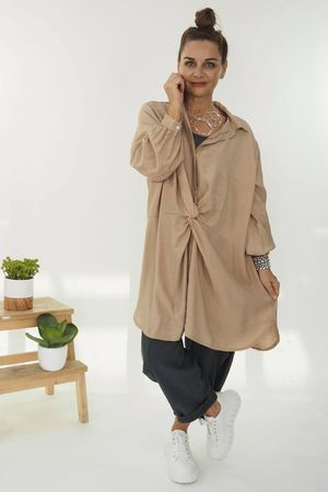 Twist Front Shirt Soft Tan