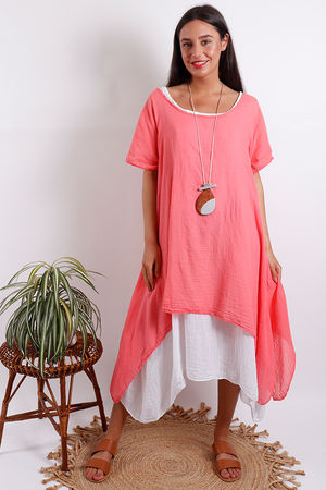 Two Layer Dress Coral