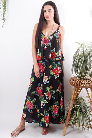 Two Layer Split Side Maxi Hibiscus