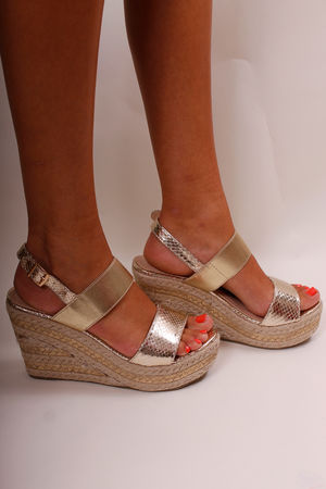 Two Strap Espadrille Wedges Gold