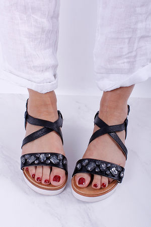 Two Strap Flatform Jewel Sandals Black