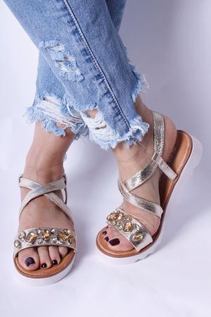 Two Strap Flatform Jewel Sandals Gold