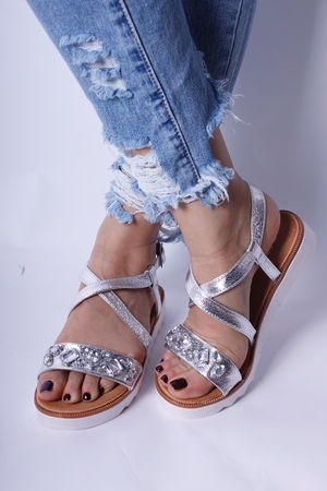 Two Strap Flatform Jewel Sandals Silver
