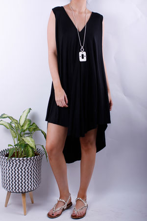 V Front Swing Dress Black
