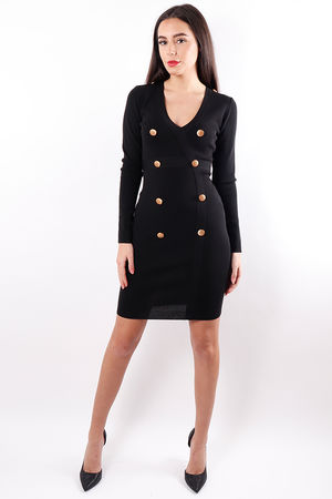 V Neck Military Dress Black