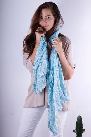 Vahine Love Blue Cotton Scarf