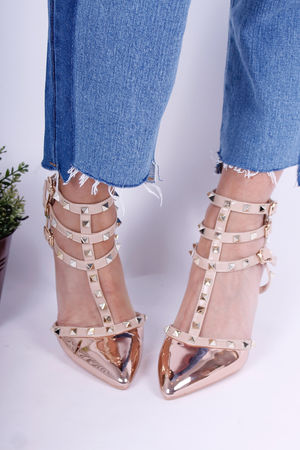 Val Stud Heels Metallic Rose