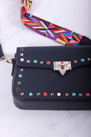 Val Stud Medium Cross Body Bag Black