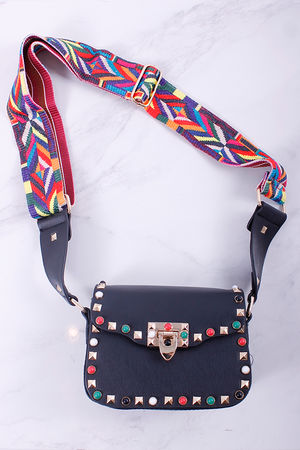 Val Stud Mini Cross Body Bag Black