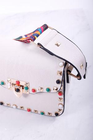Val Stud Mini Cross Body Bag Stone