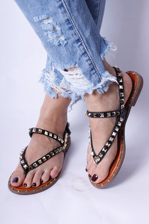 Val Stud Sandals Black