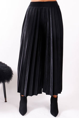 Velvet Pleated Culottes Black
