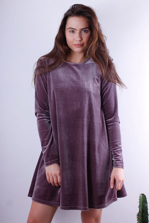 Velvet Swing Dress Dusky Lilac