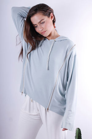 Venus Doubled Zipped Hoodie Julep Grey