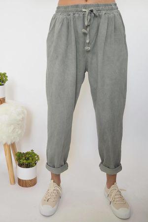 Vintage Wash Sweat Pants Khaki