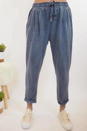 Vintage Wash Sweat Pants Mid Denim