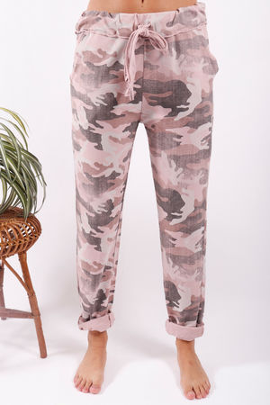 Washed Camo Joggers Blush