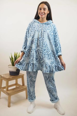 Washed Leopard Frill Hoody Bluebell