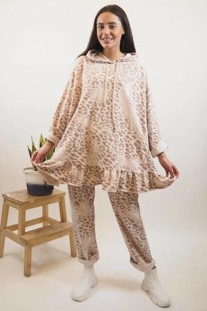 Washed Leopard Frill Hoody Blush