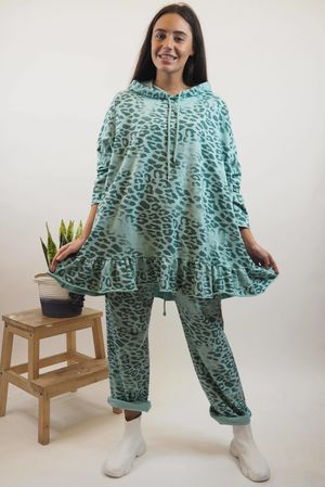 Washed Leopard Frill Hoody Mint