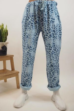 Washed Leopard Jogger Bluebell