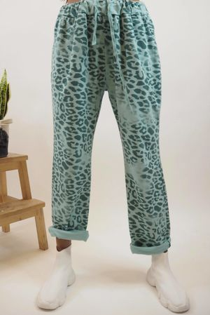 Washed Leopard Jogger Mint