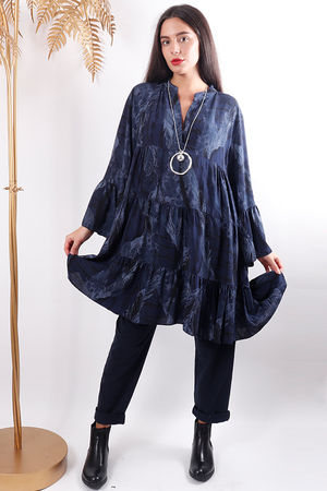 Whatever Feather Flare Tunic Navy