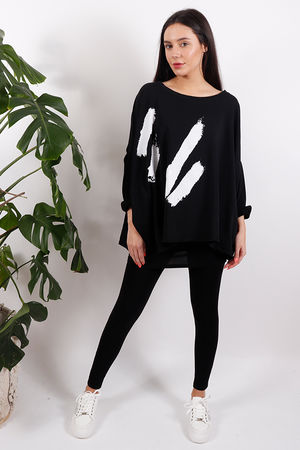 White Lines Oversized Sweat Black
