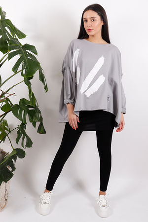 White Lines Oversized Sweat Dove