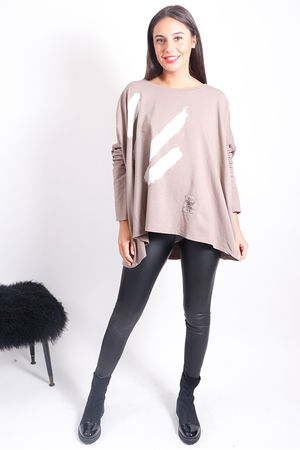 White Lines Oversized Sweat Mocha