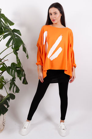 White Lines Oversized Sweat Tangerine