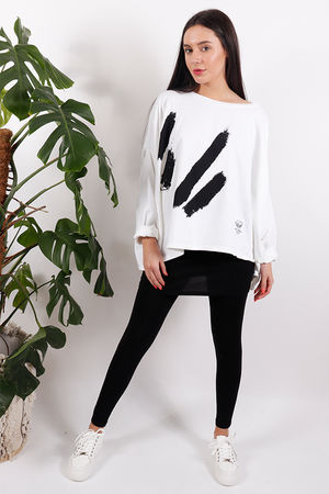 White Lines Oversized Sweat White